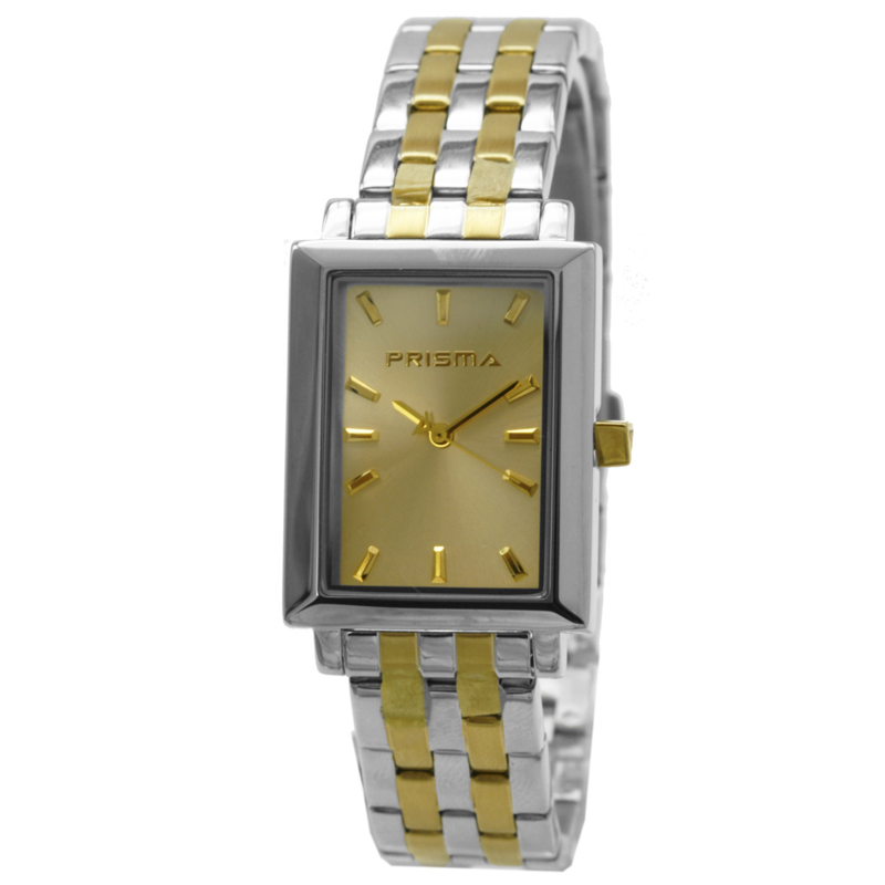 Rechthoekig Prisma Heren Horloge met Goudkleurige Wijzerplaat