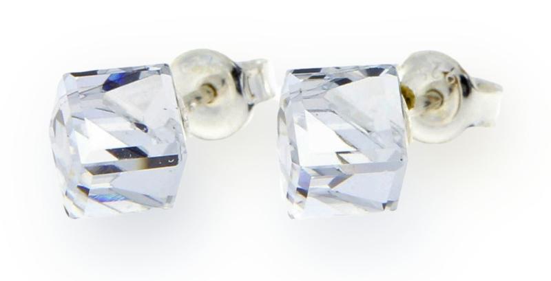 Stevige Witte Glaskristallen Kubus Oorstekers van Spark Jewelry