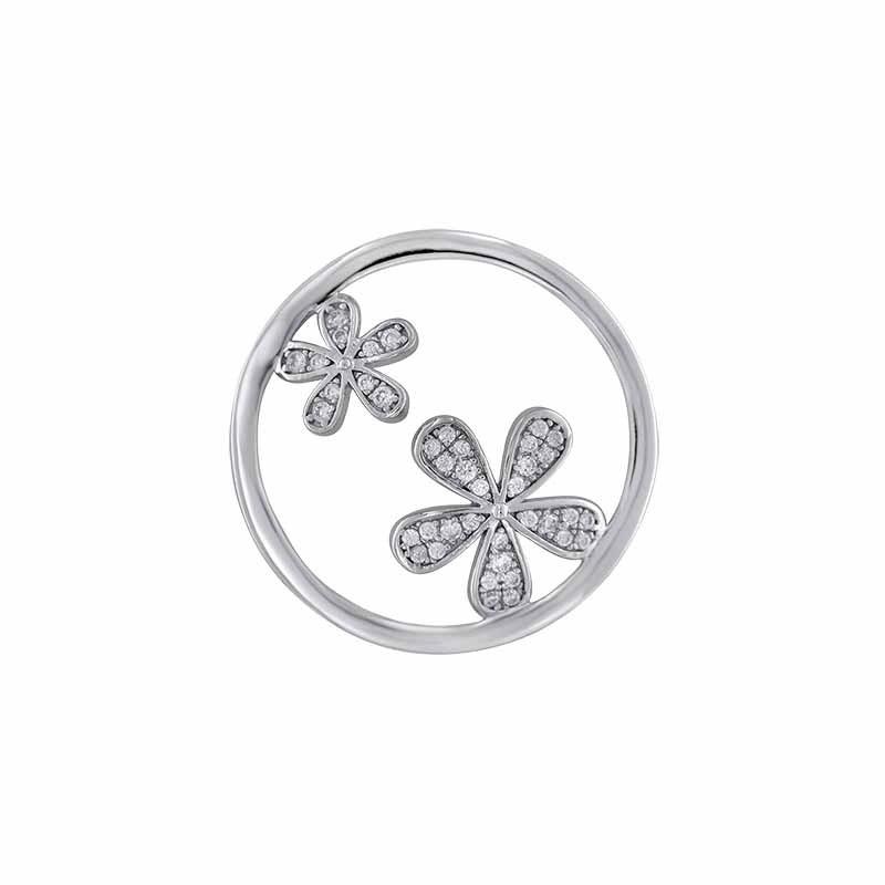 Zilveren Flower Twins 24mm Insignia met Zirkonia's van MY iMenso