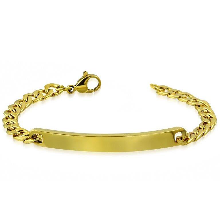 Slanke Goudkleurige Graveer Armband van Edelstaal