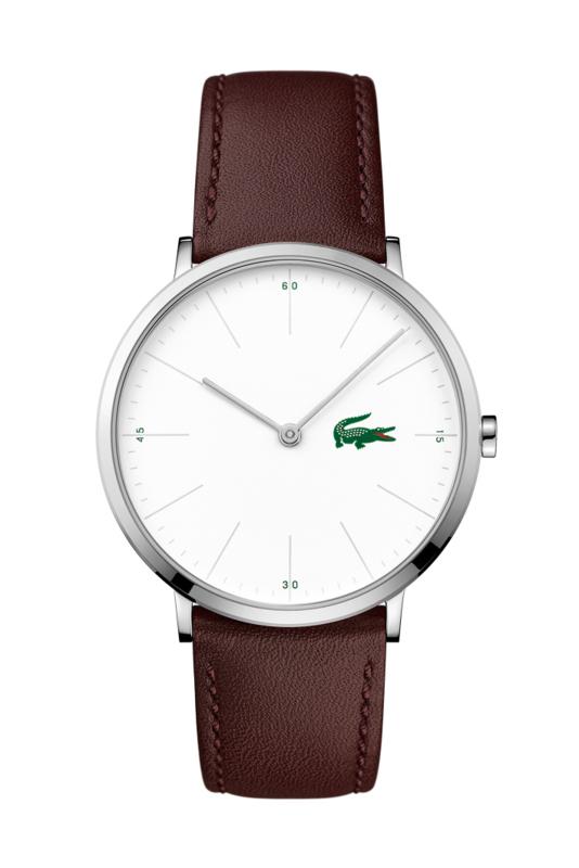 Lacoste Zilverkleurig Moon Heren Horloge met Bruin Lederen Band
