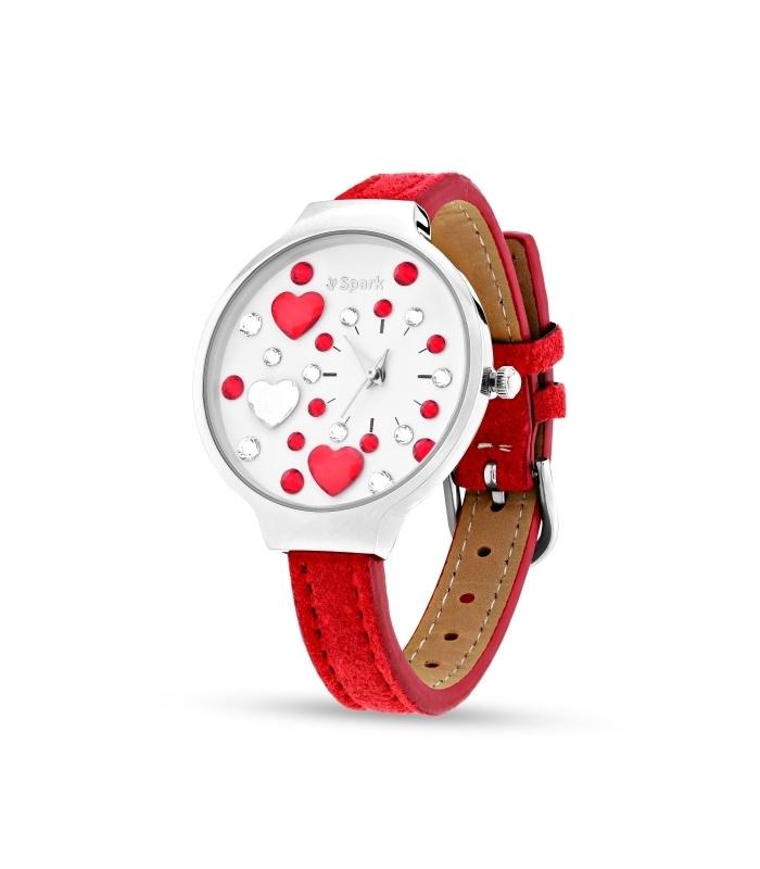 Heart Horloge van Spark met Rode Horlogeband