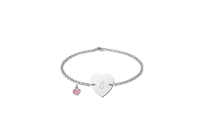 Names4ever Zilveren Baby Armbandje in Hartvorm met Letter