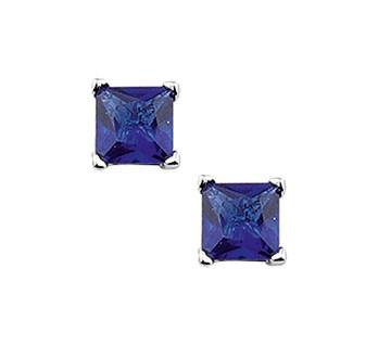 Square Blauwe Zirkonia Oorknopjes van Zilver
