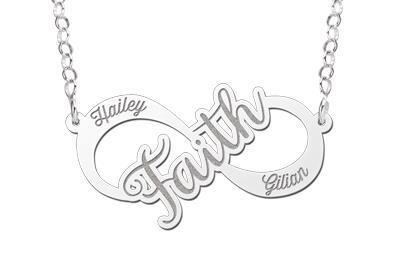 Names4ever Faith Infinity Ketting van Zilver - Graveer Sieraad
