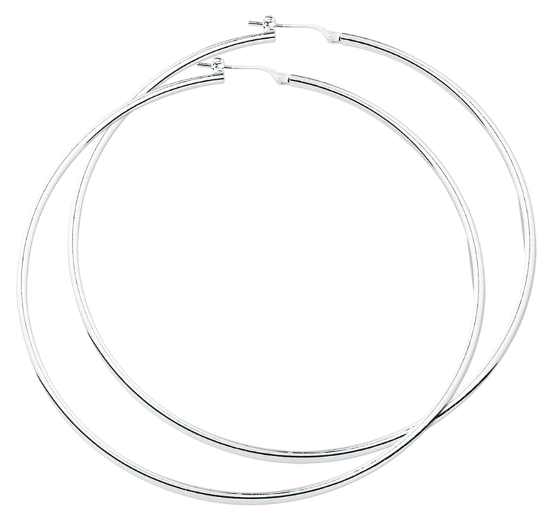 Basic Zilveren Creolen / Diameter 80mm