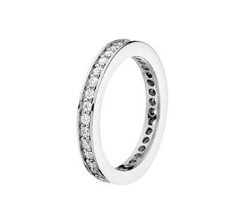 Vlakke Ring van Gerhodineerd Zilver met Zirkonia's / 21