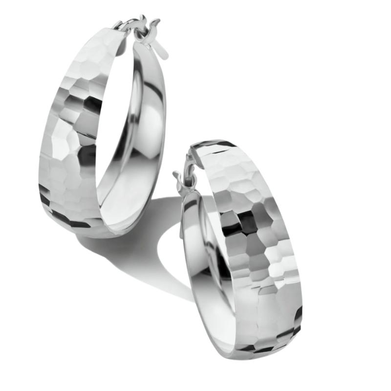 Gediamanteerde Oorringen van Zilver 34 mm