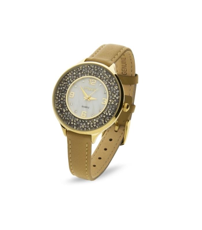 Oriso Horloge Met Beige Lederen Horlogeband van Spark