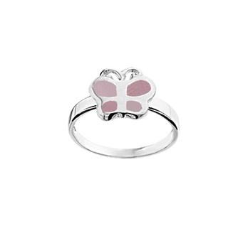 Zilveren Ring voor Kinderen met Parelmoer Roze Vlinder