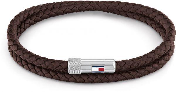 Gevlochten Armband van Bruin Leder met Edelstalen Sluiting van Tommy Hilfiger