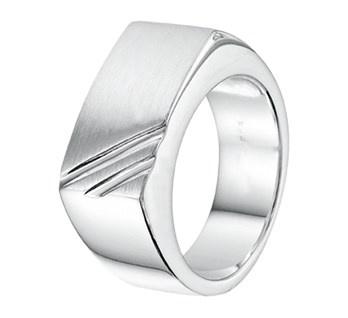 Zilveren Heren Ring met Diagonale Lijnen / maat 18,5