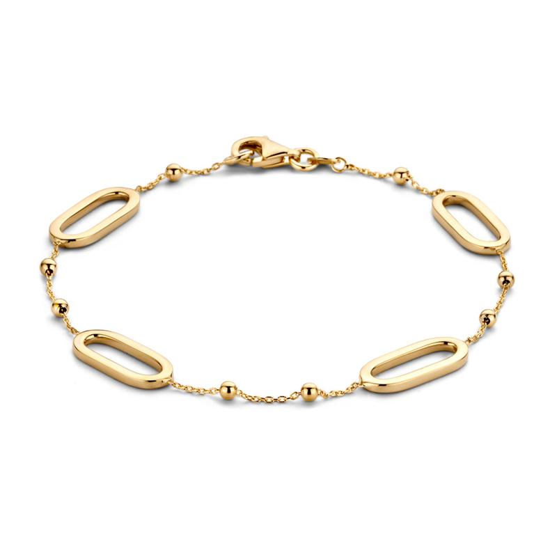 Excellent Jewelry Geelgouden Opengewerkte Schakelarmband met Bolletjes