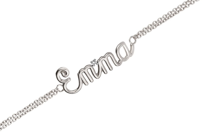 Witgouden Naam Armband van Nomelli – 9 Tekens