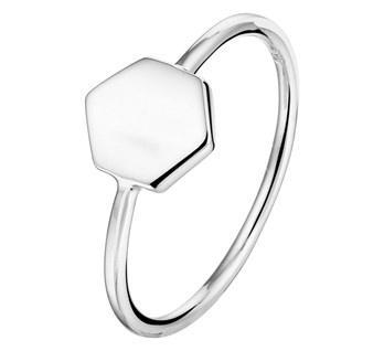 Zilveren Ring met Zeshoekig Kopstuk voor Dames