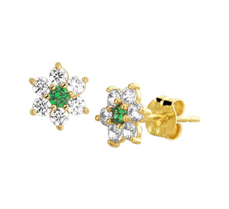 Flora Flower Gouden Diamanten Rozet Oorknoppen met Groene Smaragd