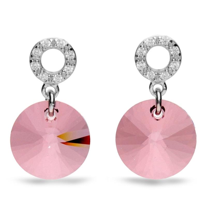 Xilion Disc Roze Swarovski Oorbellen van Spark Jewelry
