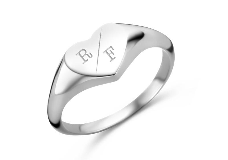 Hartvormige Zilveren Zegelring met Twee Initialen | Names4ever