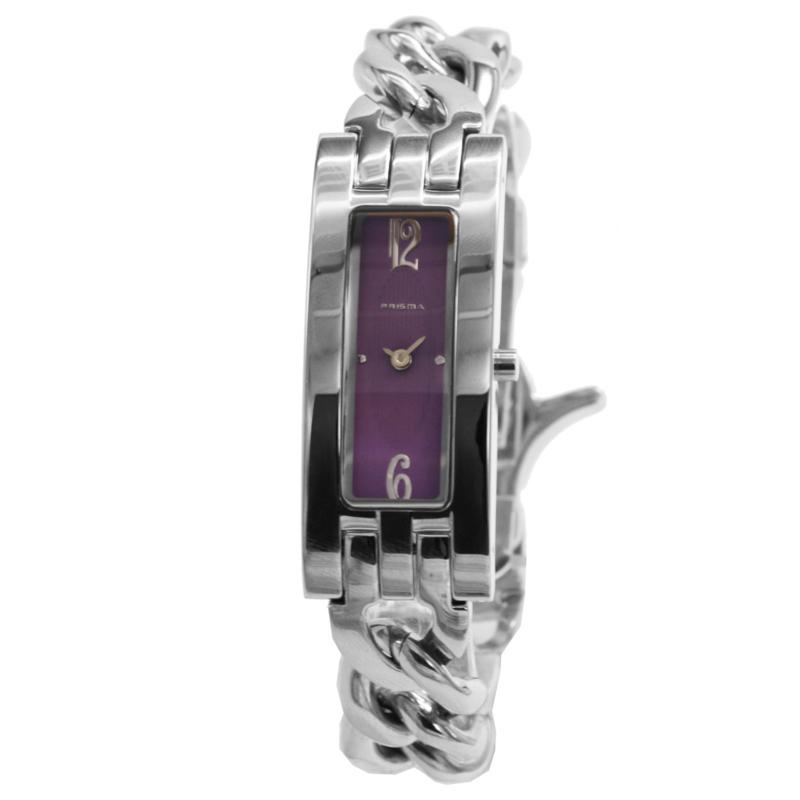 Prisma Elegant Slank Dames Horloge met Paarse Wijzerplaat
