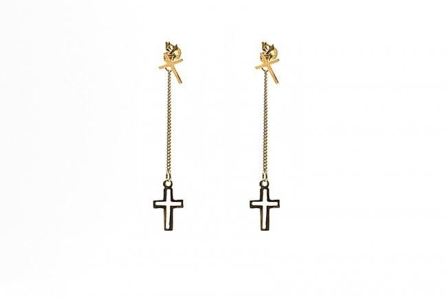 Gold Plated Silver Hanging Cross van Karma