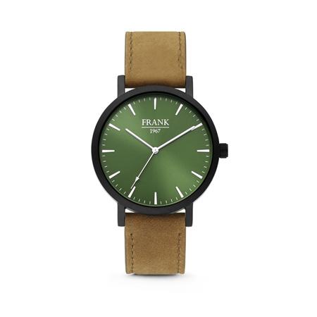 Zwart Horloge van Frank 1967 met Groene Wijzerplaat en Bruine Horlogeband