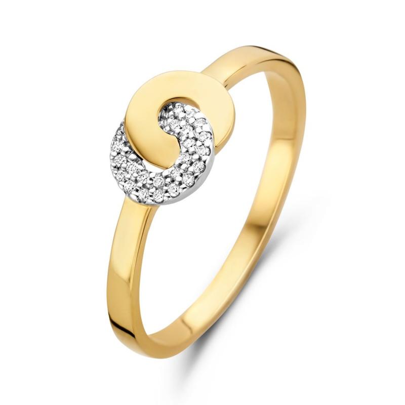 Excellent Jewelry Bicolor Dames Ring met Briljanten Cirkel