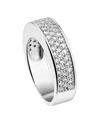 Zilveren Ring met Zirkonia's en Glanzende Randen / Maat 19