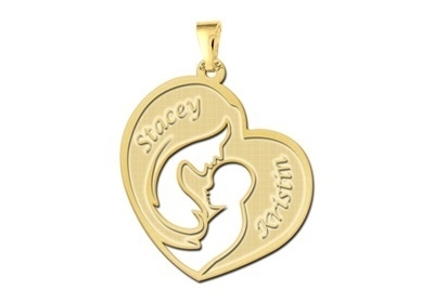 Names4ever Moeder met Kind Gouden Hanger met Namen