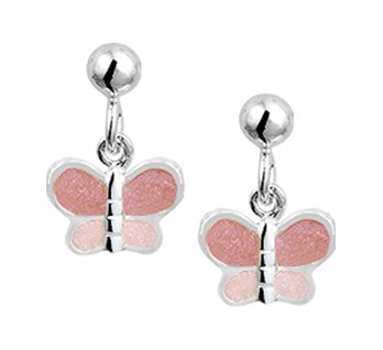 Zilveren Vlinder Oorhangers met Roze Emaille