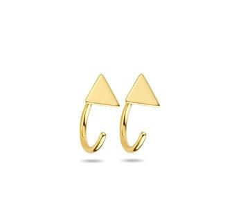 Gouden Huggie Oorringen Driehoek