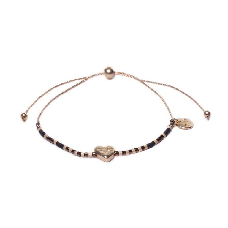 Metalen Goudkleurige Armband met Hartje en Zwarte Decoraties