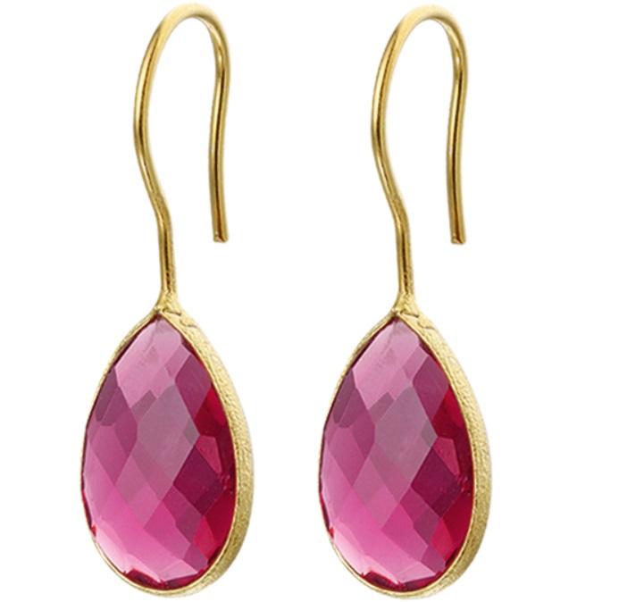 Goudkleurige Roze Synthetische Robijn Oorhangers van Zilver