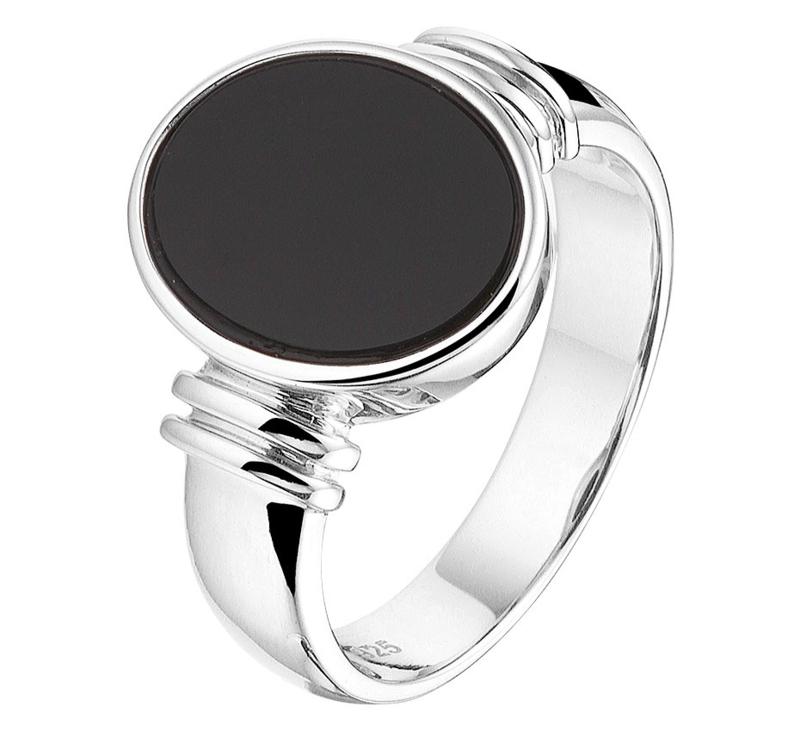 Ring van Zilver met Zwarte Onyx Steen