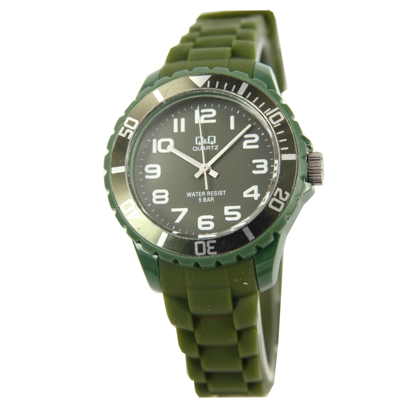 Q&Q Horloge met een horlogeband van groen rubber