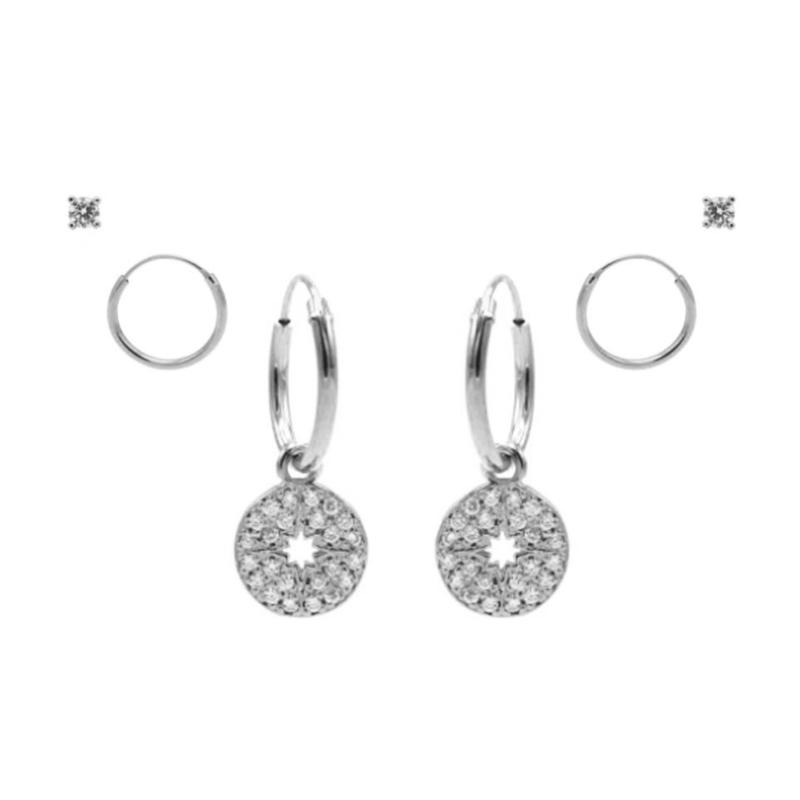 Karma Jewelry – Zesdelige Morningstar Earparty Set - Zilver