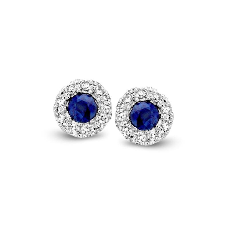 Excellent Jewelry Witgouden Oorstekers met Blauwe Saffier