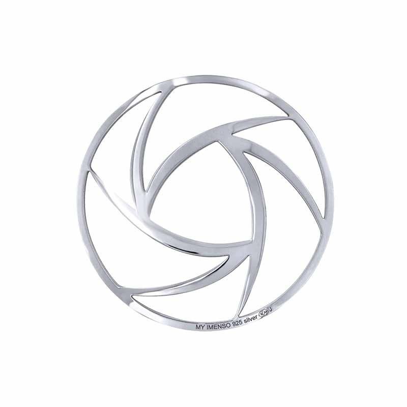 Zilveren Curve Lines 33mm Insignia van MY iMenso