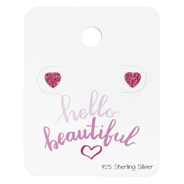 Zilveren Hart Oorstekers met Roze Zirkonia's voor Meisjes