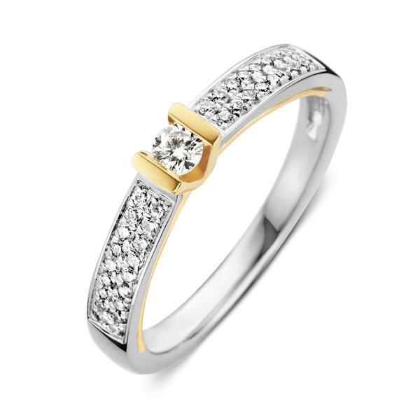 Excellent Jewelry Bicolor Ring met Briljanten en Briljant 0,26 crt. Kopstuk