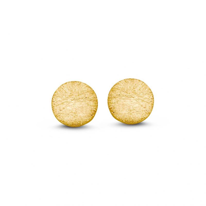 Excellent Jewelry Matte Rondjes Oorstekers van Geelgoud