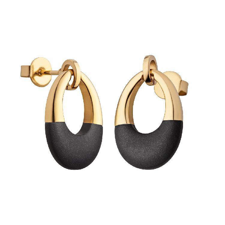 Goudkleurige Oorbellen met Bicolor Ovaal Hanger van M&M