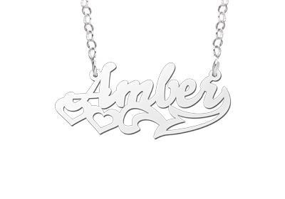 Names4ever Amber Stijl Zilveren Naamketting