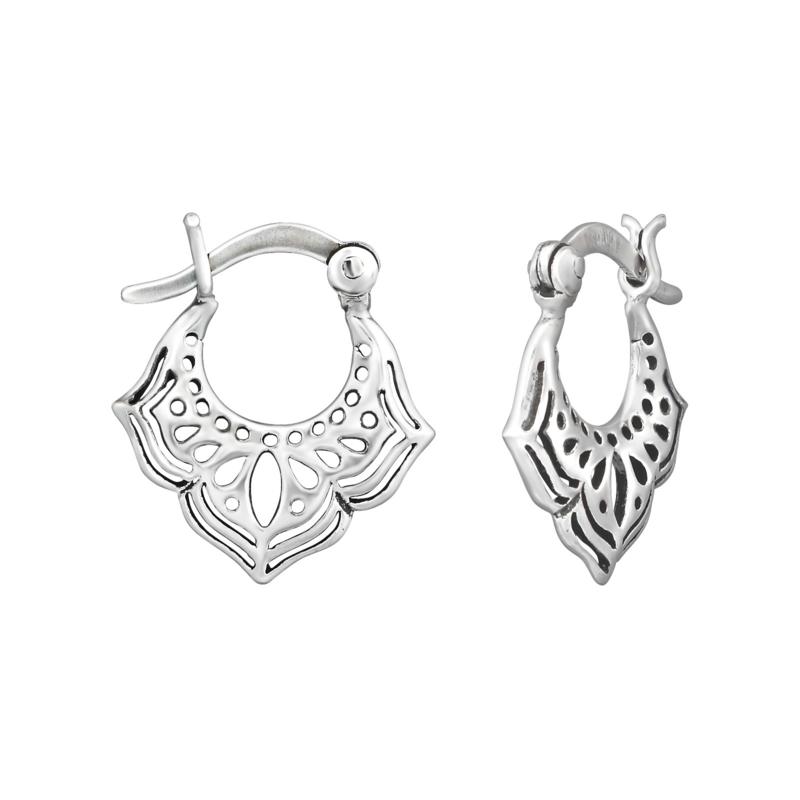 Decoratieve Opengewerkte Zilveren Oorhangers - Ear Hoops