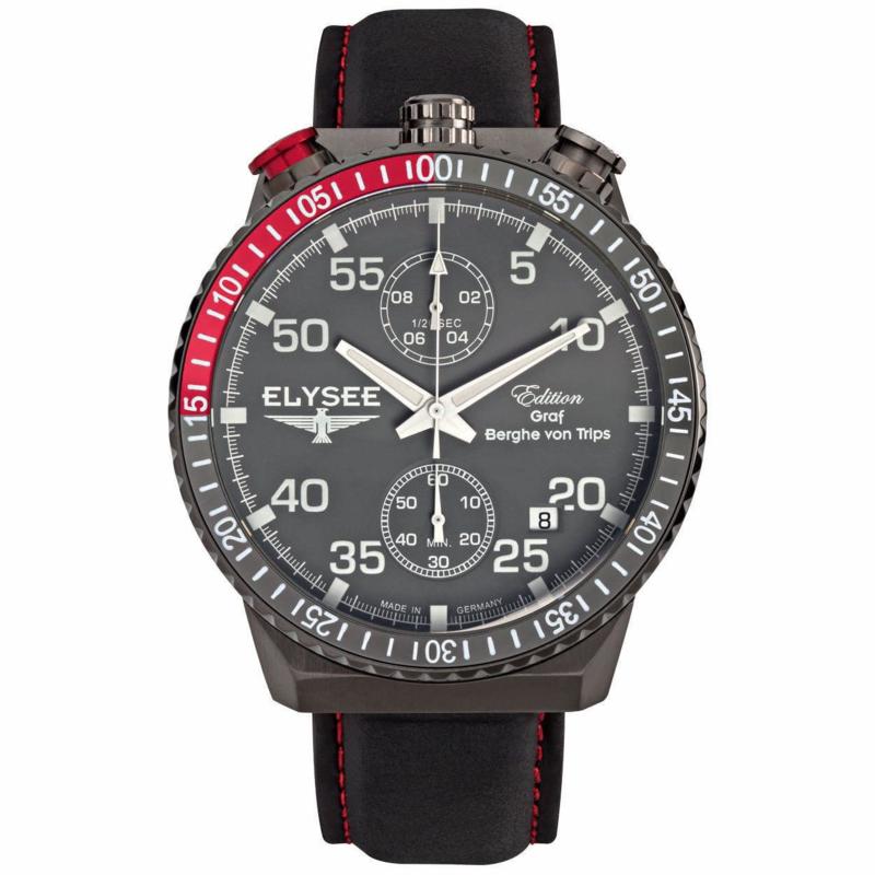 Rally Timer Zwart Heren Horloge van Elysee