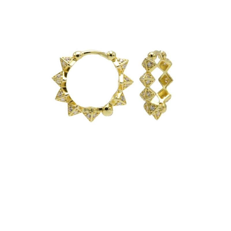 Goudkleurige Oorringen met Diamant Spikes 15MM | Karma Jewelry