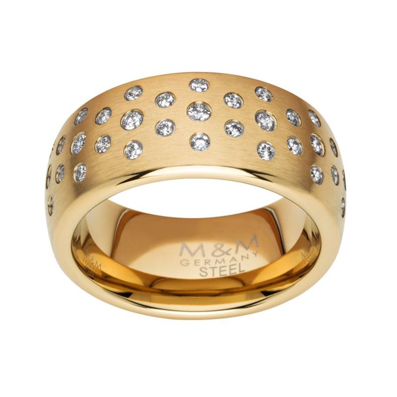 Goudkleurige Ring met Meerdere Zirkonia's van M&M / Maat 17,2