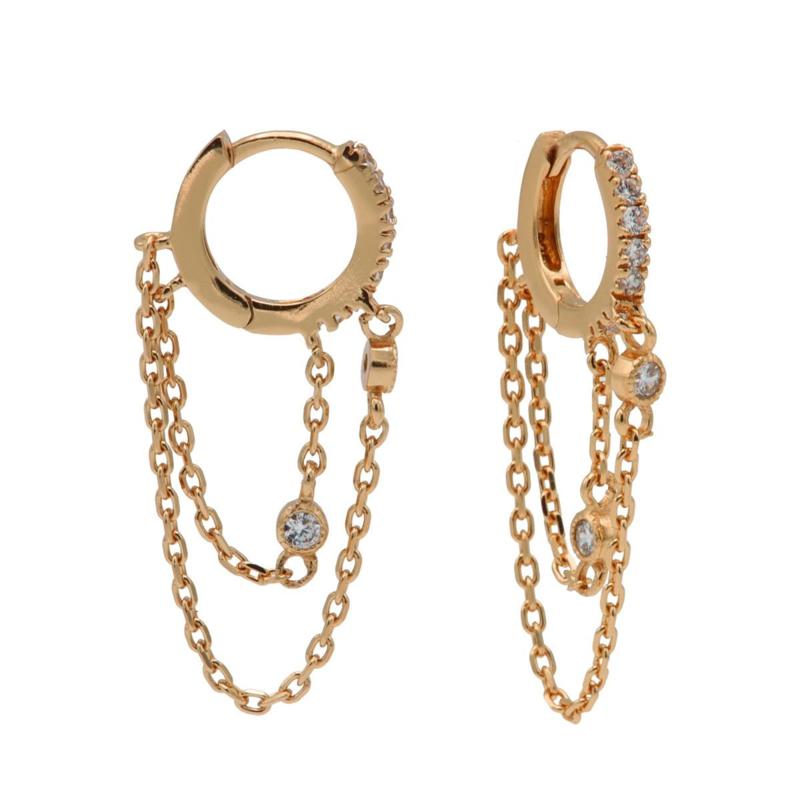 Roségoudkleurige Oorhangers met Kettinkje | Karma Jewelry