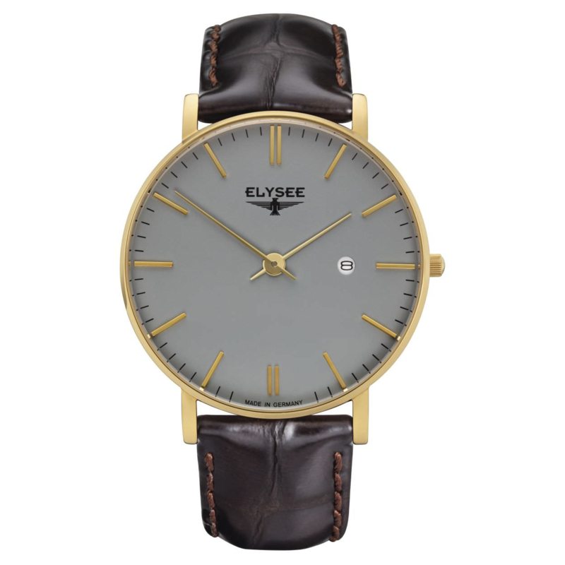 Goudkleurig Zelos Heren Horloge met Bruin Lederen Horlogeband