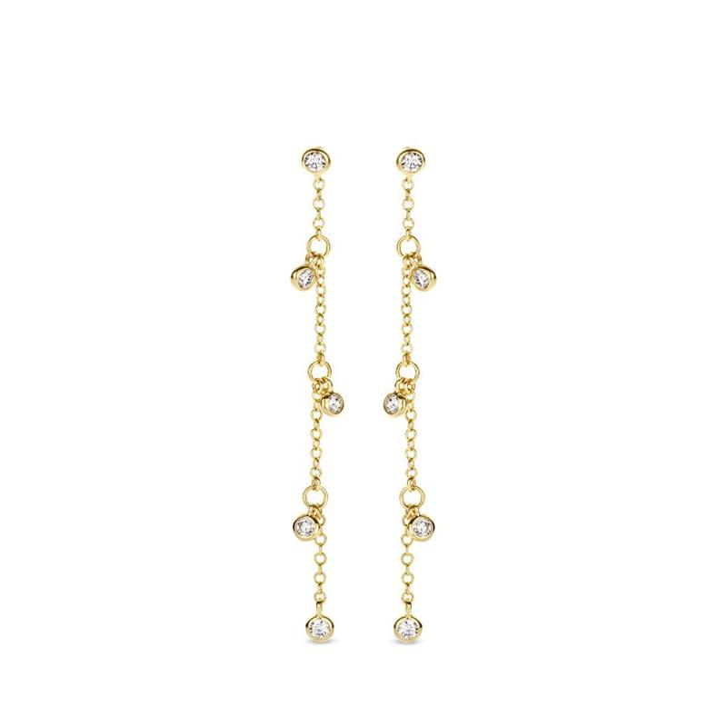 Excellent Jewelry Gouden Oorstekers met Diamanten Hangers