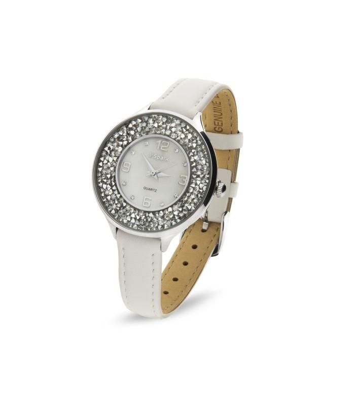 Oriso Horloge Met Wit Lederen Horlogeband van Spark